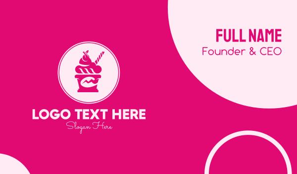 sundae - Pink Ice Cream Shop Business card horizontal design