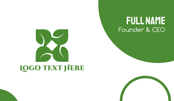 floss - Green X Leaf Business card horizontal design