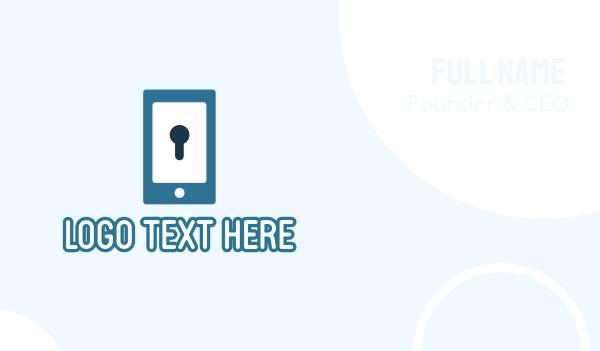 blue key - Phone Security Application Business card horizontal design