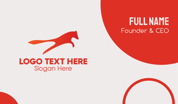 abstract animal - Jumping Fox Business card horizontal design