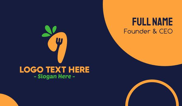 vegan restaurant - Fork Carrot Restaurant Business card horizontal design