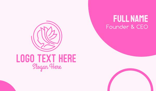 beauty - Pink Wellness Beautiful Woman Business card horizontal design