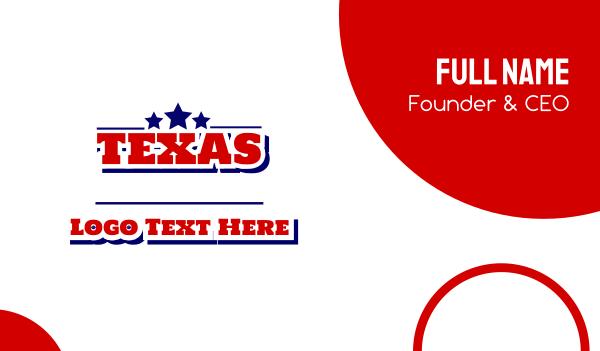 state - Dallas Texas Wordmark Business card horizontal design