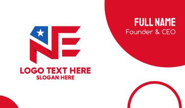 America N & E Flag Monogram  Business Card