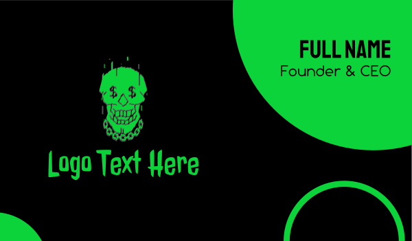 gothic - Neon Green Hiphop Skull Business card horizontal design