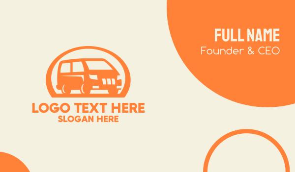 road trip - Orange Van Transportation Business card horizontal design