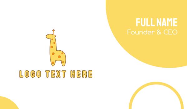 room - Cute Yellow Giraffe Business card horizontal design