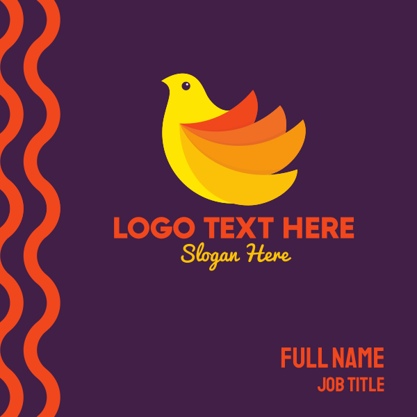 Yellow Orange Bird Business Card