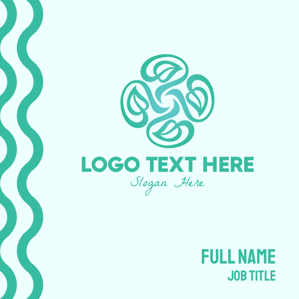 Organic Teal Vines Business Card
