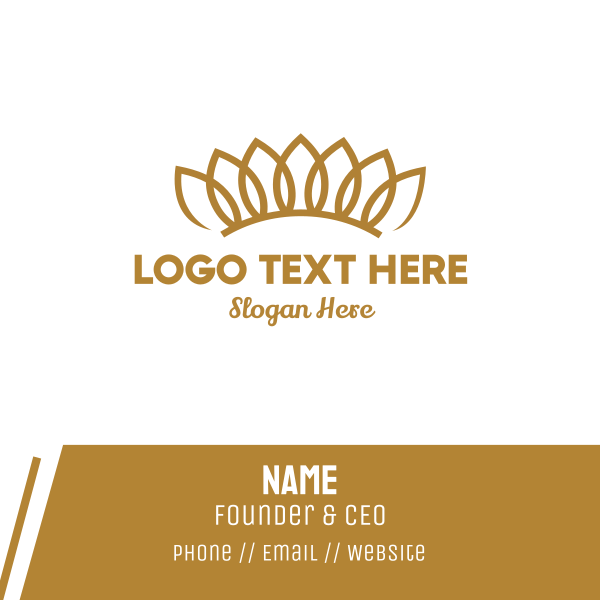 Gold Floral Crown Business Card