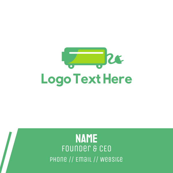 Green Electric Car Charger Business Card