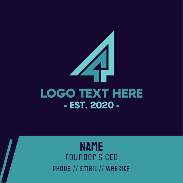 Geometric Number 4 Business Card
