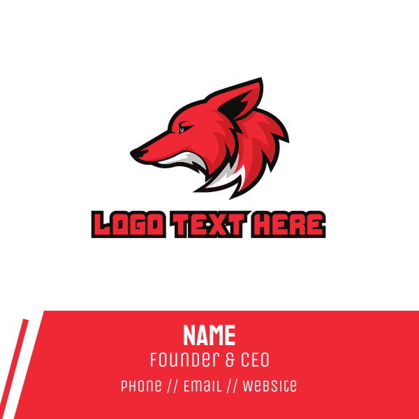 Sports Gaming Red Coyote Mascot Business Card