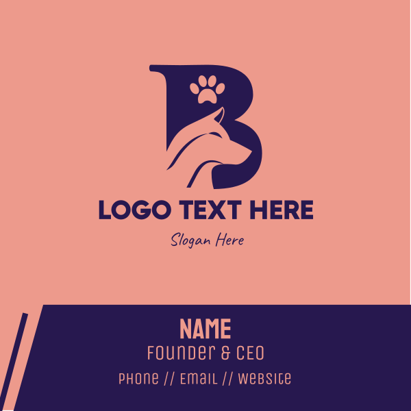 Pet Dog Letter B Business Card