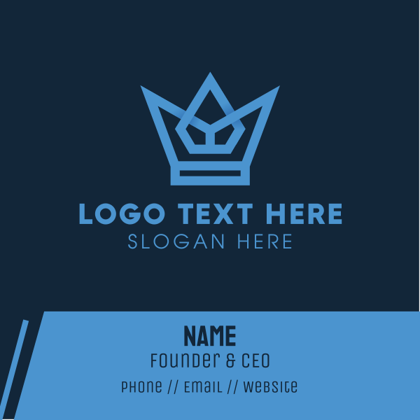 Blue Geometric Crown Business Card