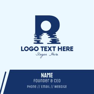 River Water Letter R Business Card
