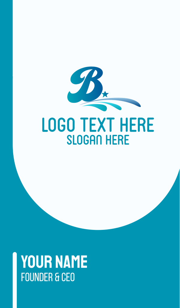 Blue Water Letter B Business Card