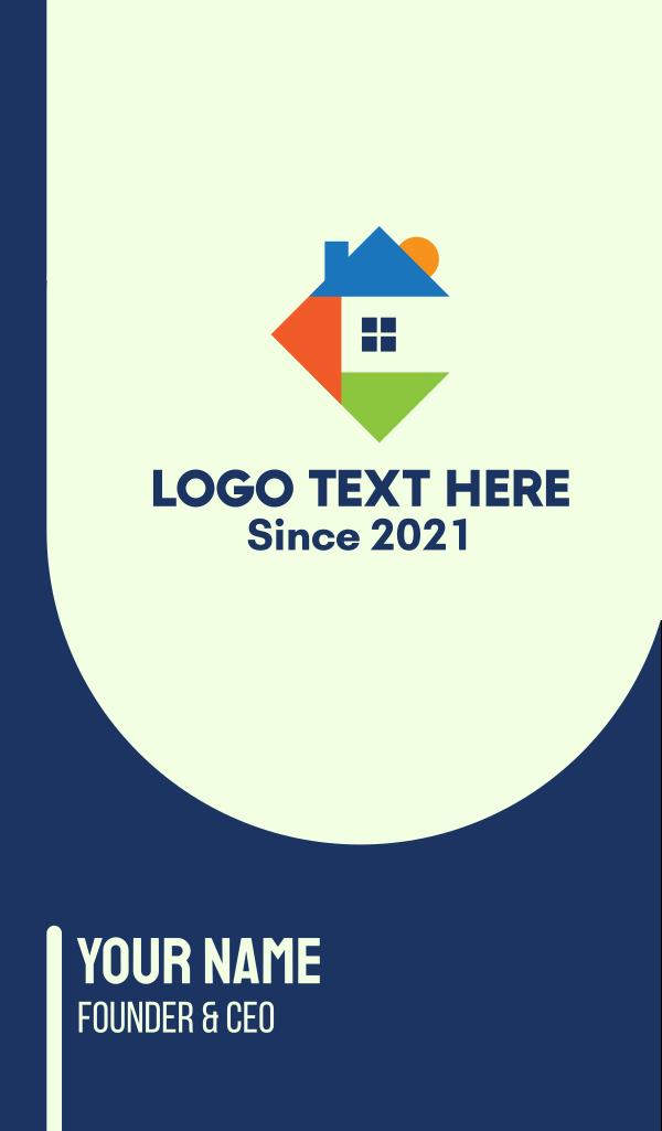 Geometric Triangle House Business Card