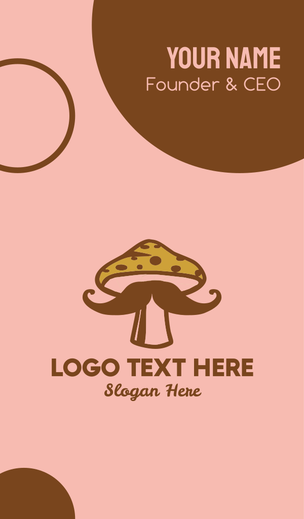 Hipster Mushroom Moustache Business Card