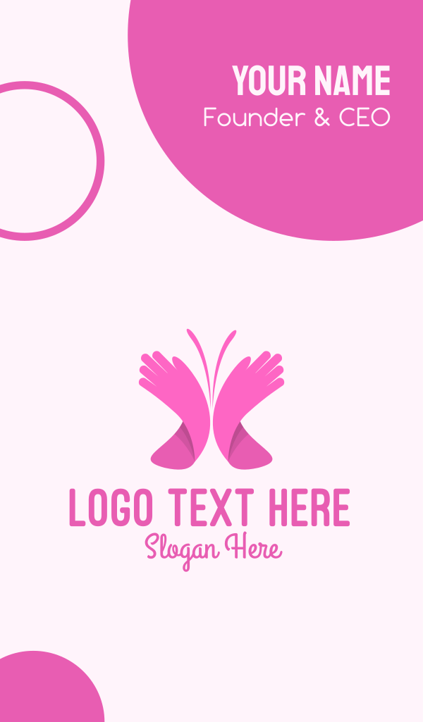 Pink Butterfly Hands Business Card