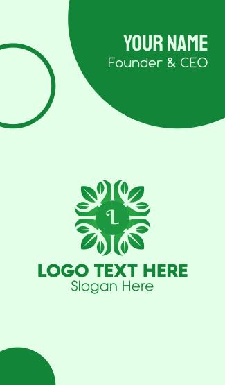 Green Plant Lettermark Business Card