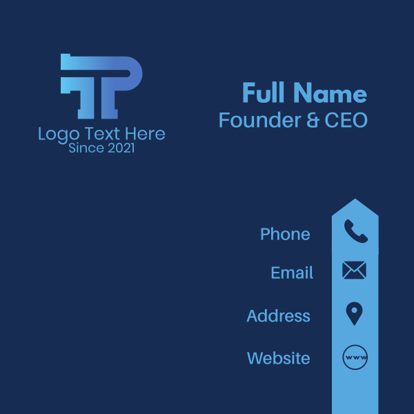 Letter TP Plumber Business Card
