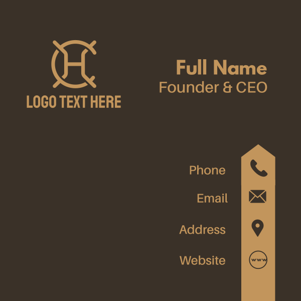Brown Letter H & C Business Card