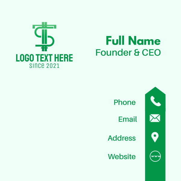 Green Letter TS Currency Business Card