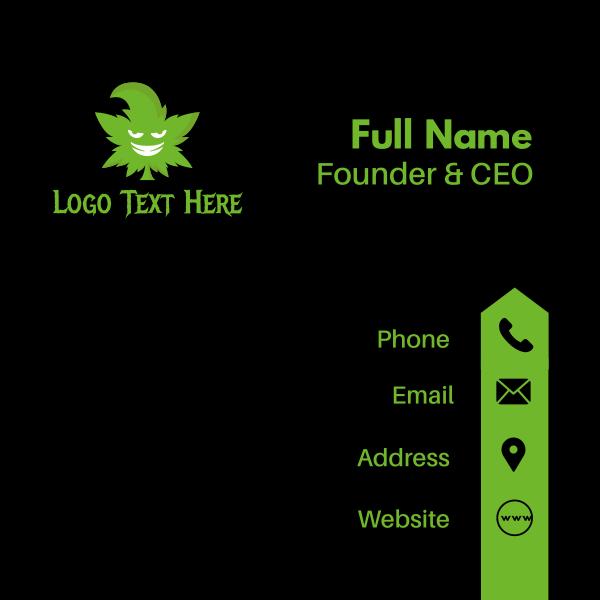 Evil Marijuana Mascot Business Card