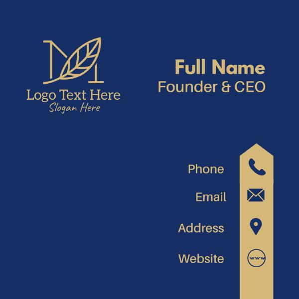 Gold Leaf Letter M Business Card