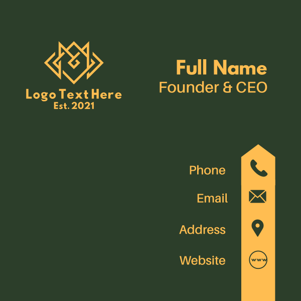 Yellow Monoline Letter M Business Card