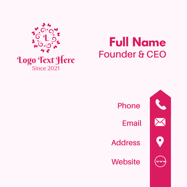 Pink Flower Lettermark Business Card