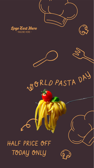 World Pasta Day Doodle Facebook story