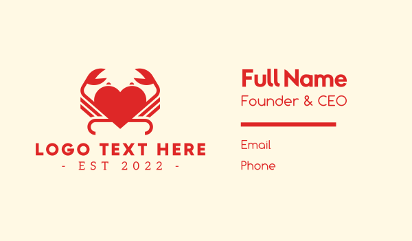 cancer - Red Heart Crab  Business card horizontal design