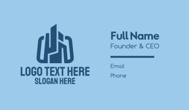 Blue Construction Company Business Card