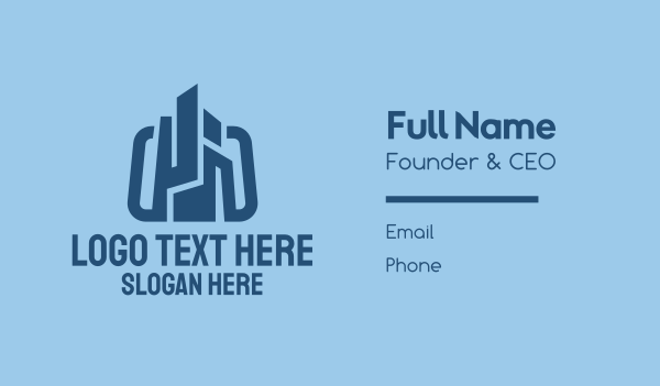 staffing-agency - Blue Construction Company Business card horizontal design