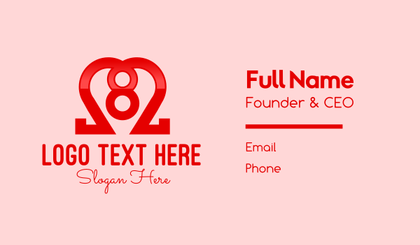 number 8 - Lovely Heart Number 8 Business card horizontal design