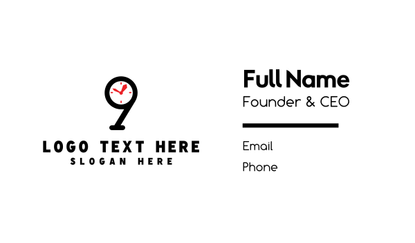number 9 - Clock Number 9 Business card horizontal design