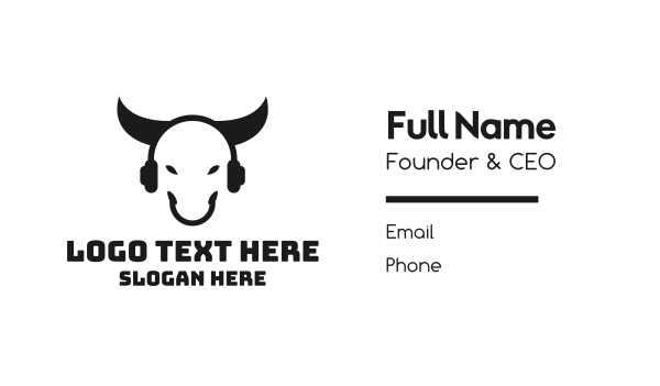radio - DJ Audio Bull Business card horizontal design