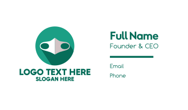 Green Cloth Face Mask Business Card