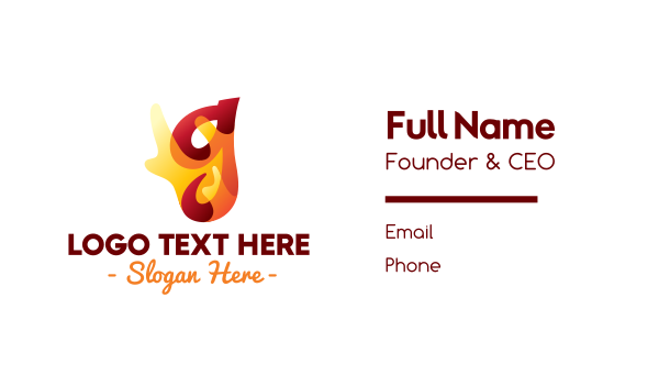 burning - Chili Flaming Letter G Business card horizontal design
