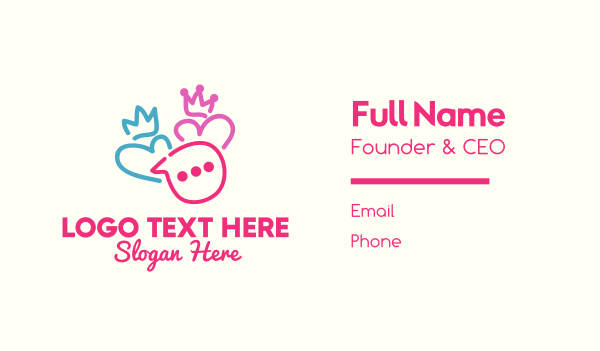texting app - King & Queen Couple Messaging Business card horizontal design