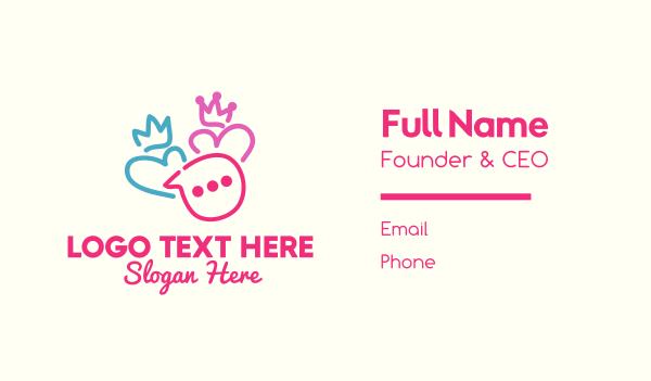message bubble - King & Queen Couple Messaging Business card horizontal design