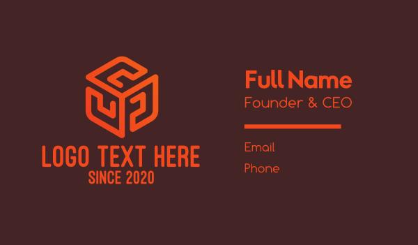 cube - Orange Pattern Cube Business card horizontal design