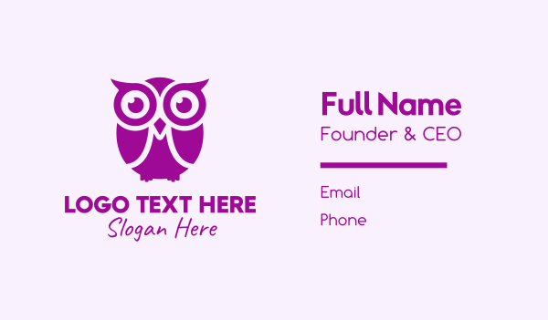 knowlegde - Purple Owl Mascot Business card horizontal design