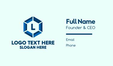 Blue Hexagon Lettermark Business Card