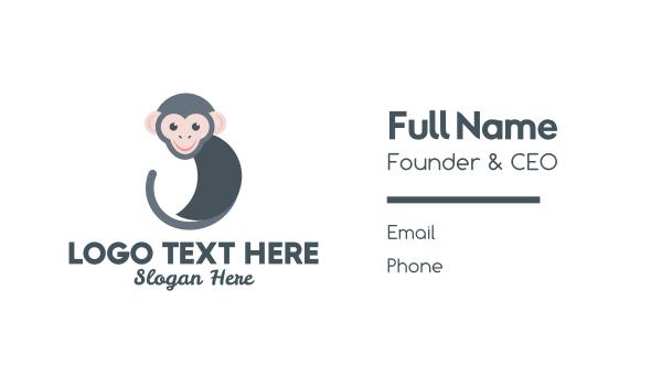 ape - Round Monkey Business card horizontal design