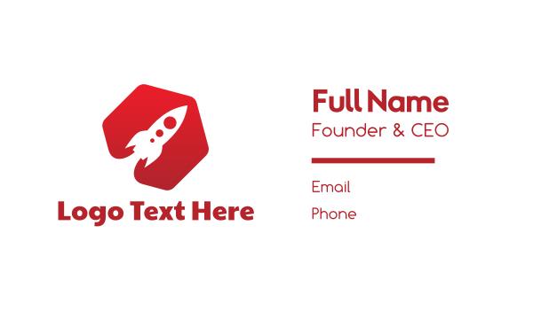 red hexagon - Red Rocket Hexagon Business card horizontal design