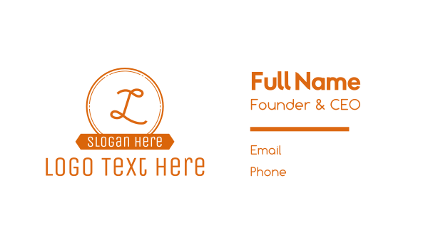 banner - Orange Circle Banner Lettermark Business card horizontal design