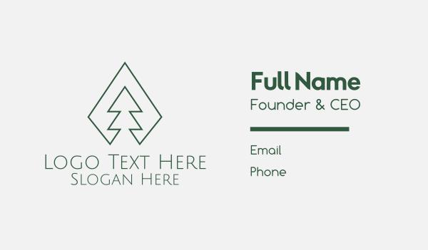 pine forest - Green Pine Tree Minimal Business card horizontal design
